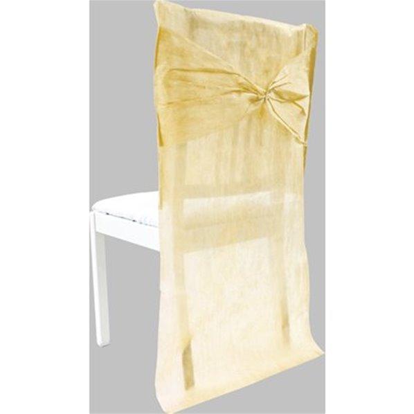 Housses de chaise avec noeud ivoire x2 for Housses de chaises en tissu
