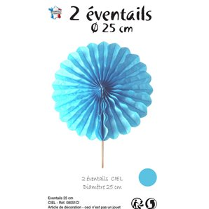 EVENTAIL DECORATIF BLEU CIEL EN PAPIER 25 CM - LOT DE 2