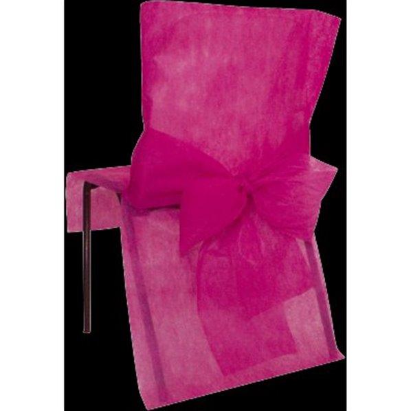 housses de chaise avec noeud fuchsia x10. Black Bedroom Furniture Sets. Home Design Ideas